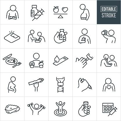 Diabetes Thin Line Icons - Editable Stroke