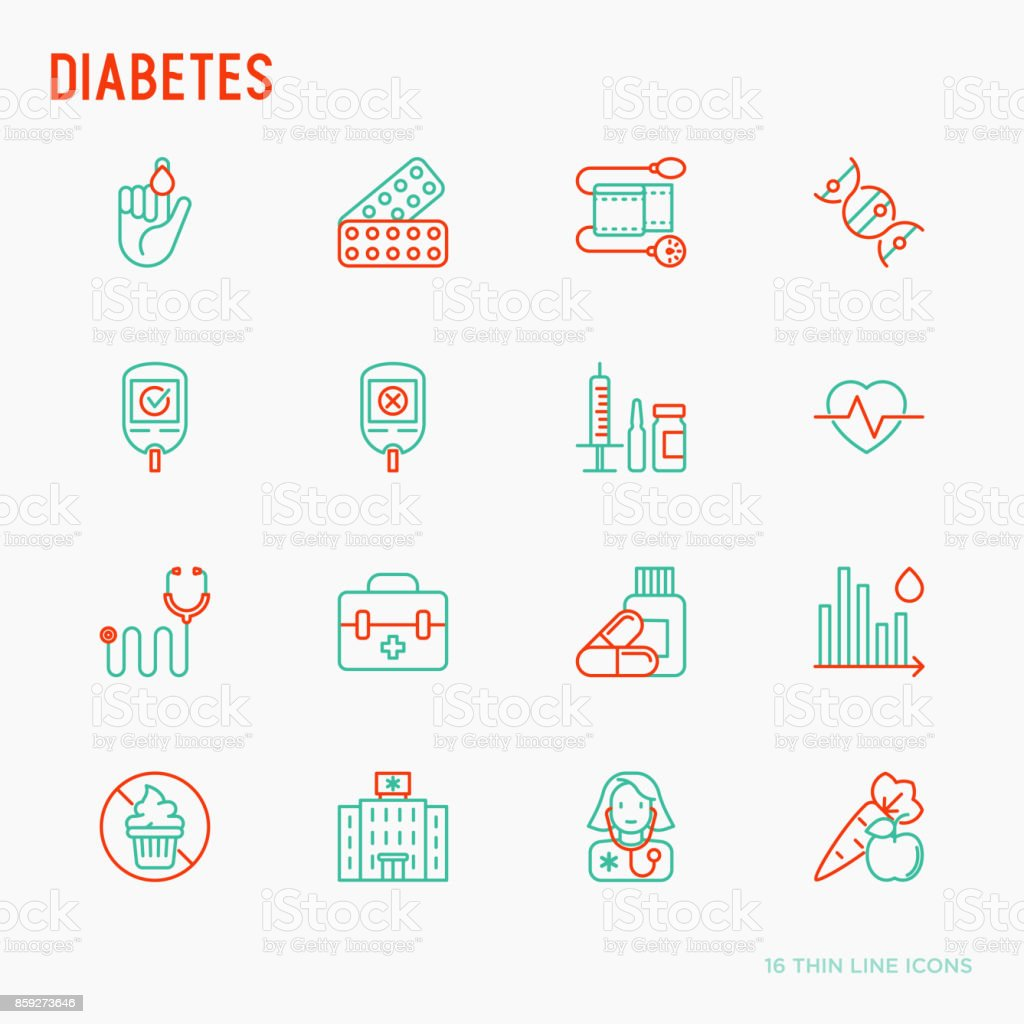 Diabetes thin line icons set of symptoms and prevention care. Vector illustration for medical survey or report. vector art illustration