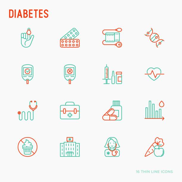 stockillustraties, clipart, cartoons en iconen met diabetes dunne lijn iconen set van symptomen en preventie zorg. vectorillustratie voor medisch onderzoek of rapport. - bloedsuikertest