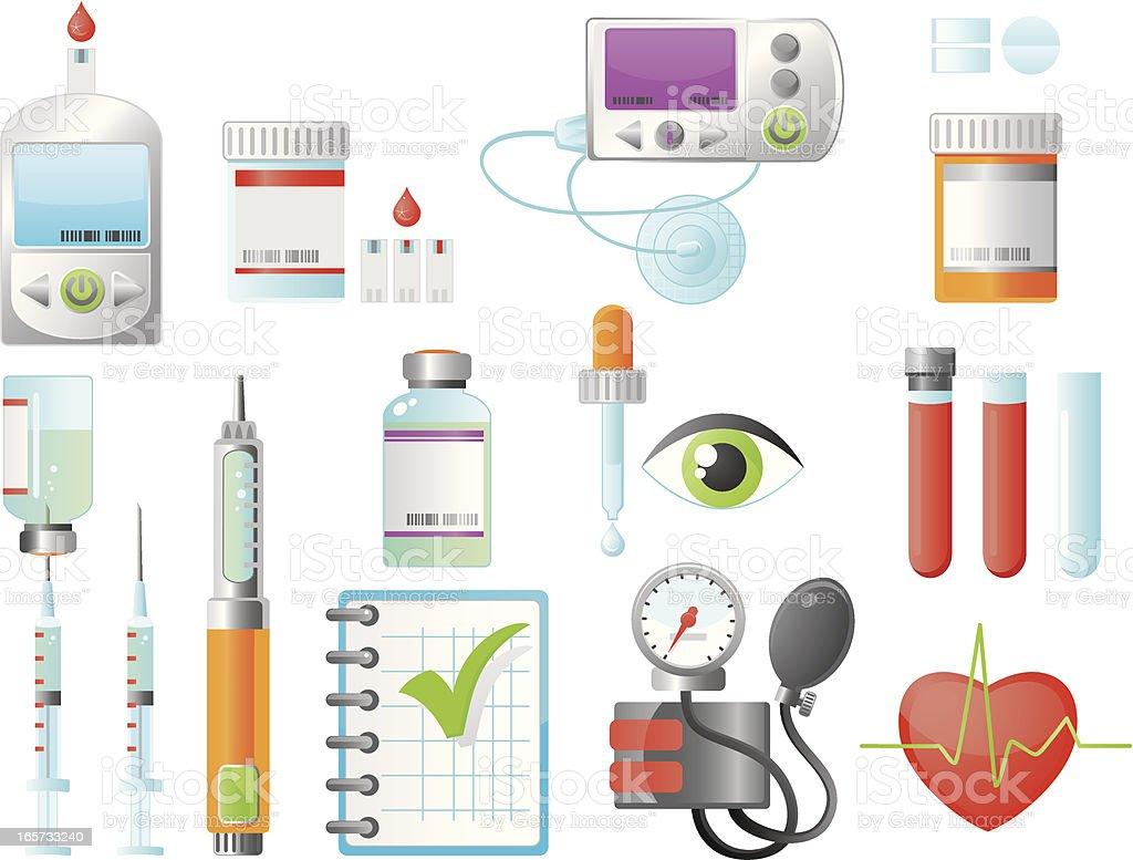 Diabetes Treatment Elements vector art illustration