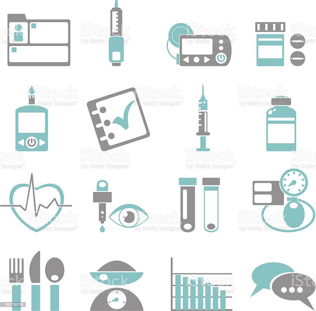 Diabetes Treatment Icons vector art illustration