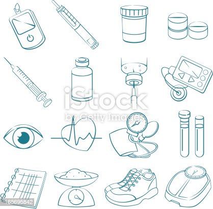 [b]Life with Diabetes:[/b] Vector line art drawings of Diabetes treatment related items. The set includes:  Blood Glucose Test, Insulin Injection Pen, Anti-Diabetic-Drugs, Insulin phial and syringe, Insulin Pump, Eye, Heart rate, Blood pressure cuff, Blood Test Tubes, Spiral Note Pad, Kitchen Scale, Sports shoes, Bathroom Scale. Strokes are expanded and combined into one shape - color can be changed with one click. Visit my Lightboxes for related images: [url=http://www.istockphoto.com/my_lightbox_contents.php?lightboxID=5820617][IMG]http://i12.photobucket.com/albums/a209/HJvectors/istockphoto/healthcare_medicine_zpsu2zcb7ow.jpg[/IMG][/URL] [url=http://www.istockphoto.com/my_lightbox_contents.php?lightboxID=5991299][IMG]http://i12.photobucket.com/albums/a209/HJvectors/istockphoto/floraldreams_zpsxgybsz13.jpg[/IMG][/URL] [url=http://www.istockphoto.com/my_lightbox_contents.php?lightboxID=5453778][img]http://www.helgajaunegg.com/lightbox/yoga.jpg[/img]