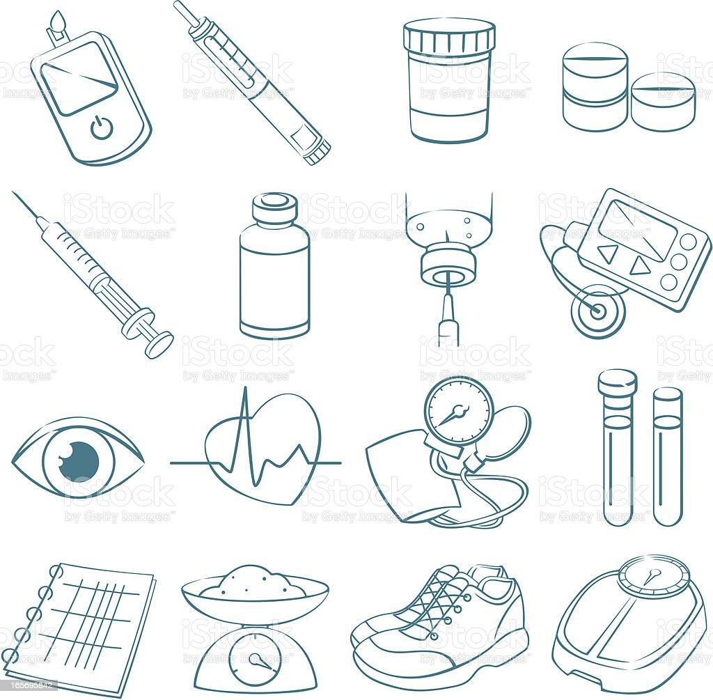 Diabetes Treatment Line Art vector art illustration