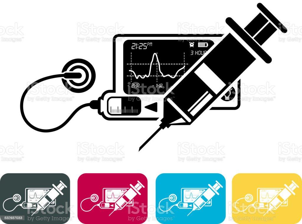 Diabetes Treatment vector art illustration