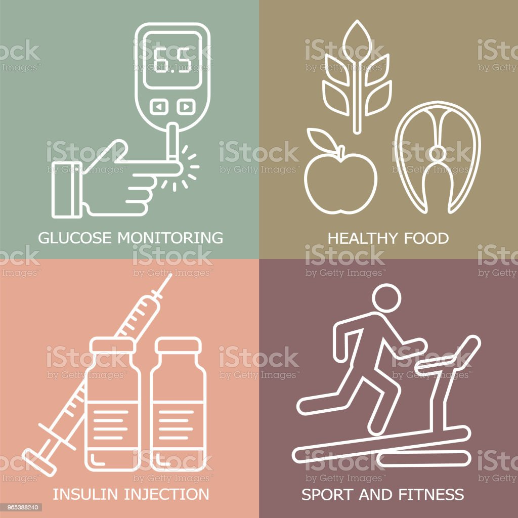 Diabetes vector background.  Diabetic therapy line style icons set. Blood glucose test. royalty-free diabetes vector background diabetic therapy line style icons set blood glucose test stock vector art & more images of analyzing
