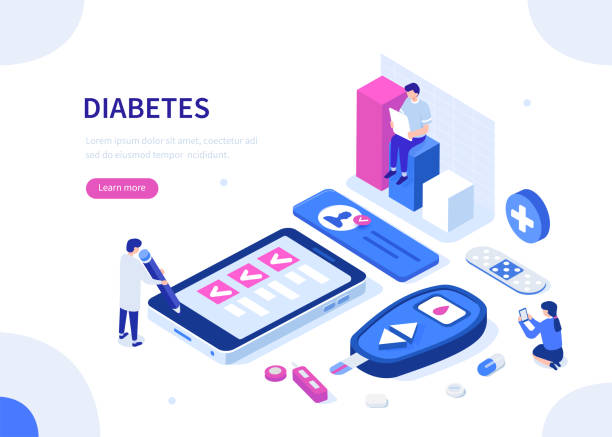 diabetes Diabetes monitoring concept. Can use for web banner, infographics, hero images. Flat isometric vector illustration. chronic illness stock illustrations