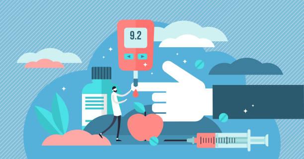 Diabetes vector illustration. Flat tiny sugar level in blood person concept vector art illustration
