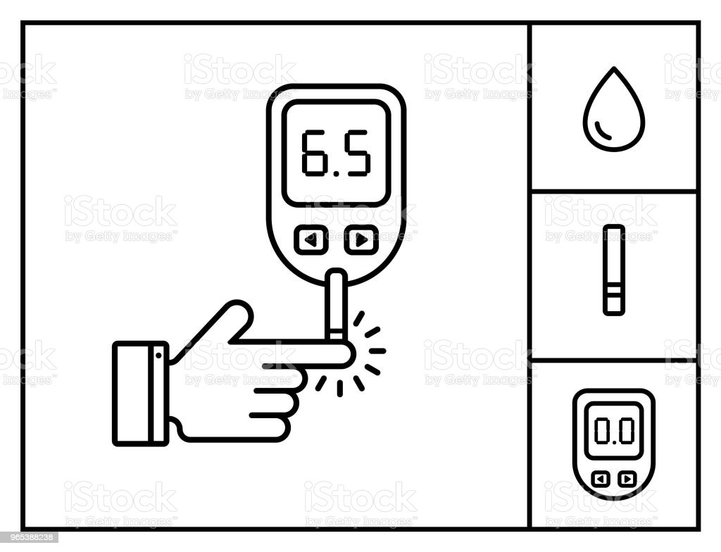 Diabetes vector linear icon set. Blood glucose test. Line style icon hand with glucose meter. Home glucose meter vector illustration. royalty-free diabetes vector linear icon set blood glucose test line style icon hand with glucose meter home glucose meter vector illustration stock vector art & more images of analyzing