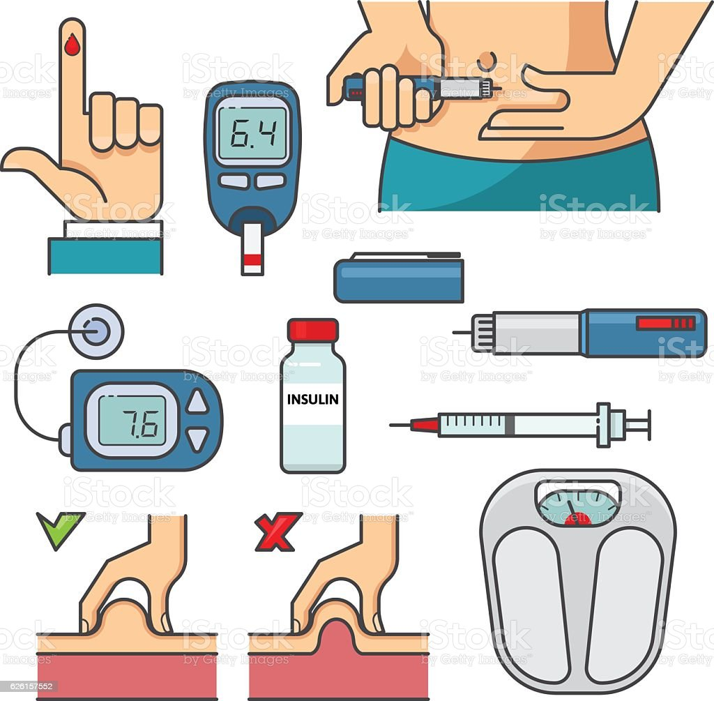 Diabetic therapy set line icons in flat design. vector art illustration