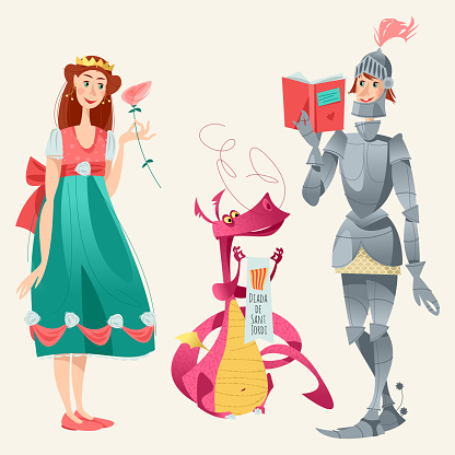 Diada de Sant Jordi (the Saint George's Day). Princess with a rose, knight with a book and dragon. Dia de la rosa (The Day of the Rose). Dia del llibre (The Day of the Book). Traditional festival in Catalonia, Spain.