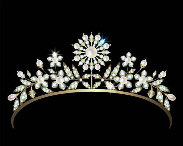 diadem mit diamanten und perlen - hochzeitsanstecker stock-grafiken, -clipart, -cartoons und -symbole