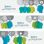 Doctor and patients communicating online; banners templates + icon set. EPS 10, nicely layered, no transparencies used. Used typography Century Gothic.