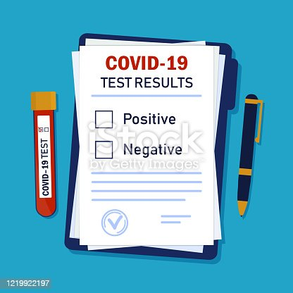 Diagnosis coronavirus on paper with tube of blood and pen. Results of test corona for patient from medicine laboratory. Clinic form with analysis of blood from test-tube. Diagnostic icon. vector