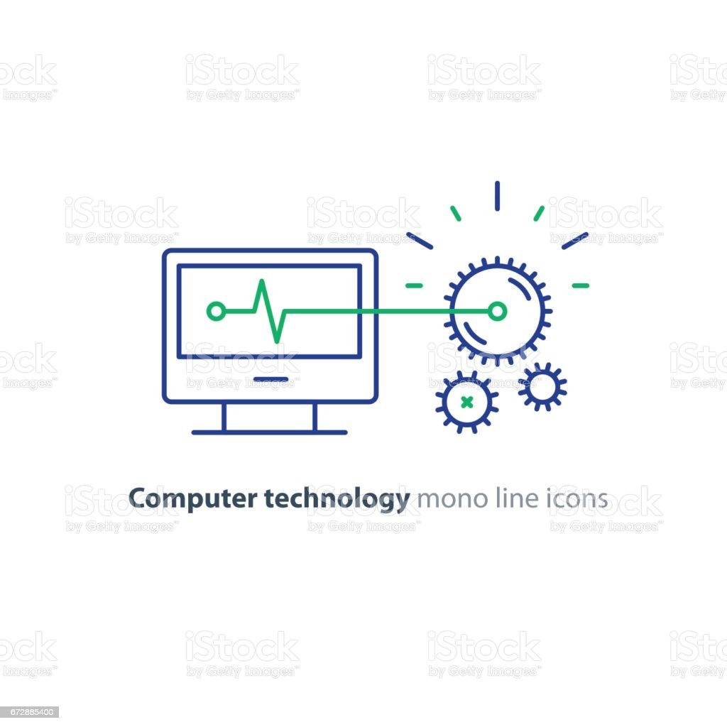 Diagnostic system, engine test, software integration, data processing line icon vector art illustration