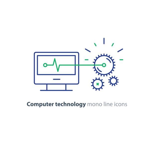 Diagnostic system, engine test, software integration, data processing line icon vector art illustration