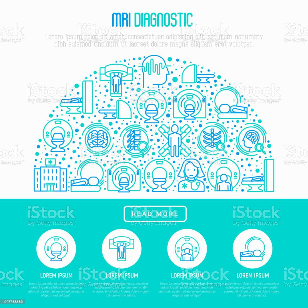 MRI diagnostics concept in half circle with thin line icons. Modern vector illustration of laboratory equipment for web page template, print media, banner. vector art illustration