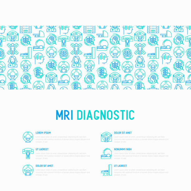 MRI diagnostics concept with thin line icons. Modern vector illustration of laboratory equipment for web page template, print media, banner. MRI diagnostics concept with thin line icons. Modern vector illustration of laboratory equipment for web page template, print media, banner. radiology stock illustrations