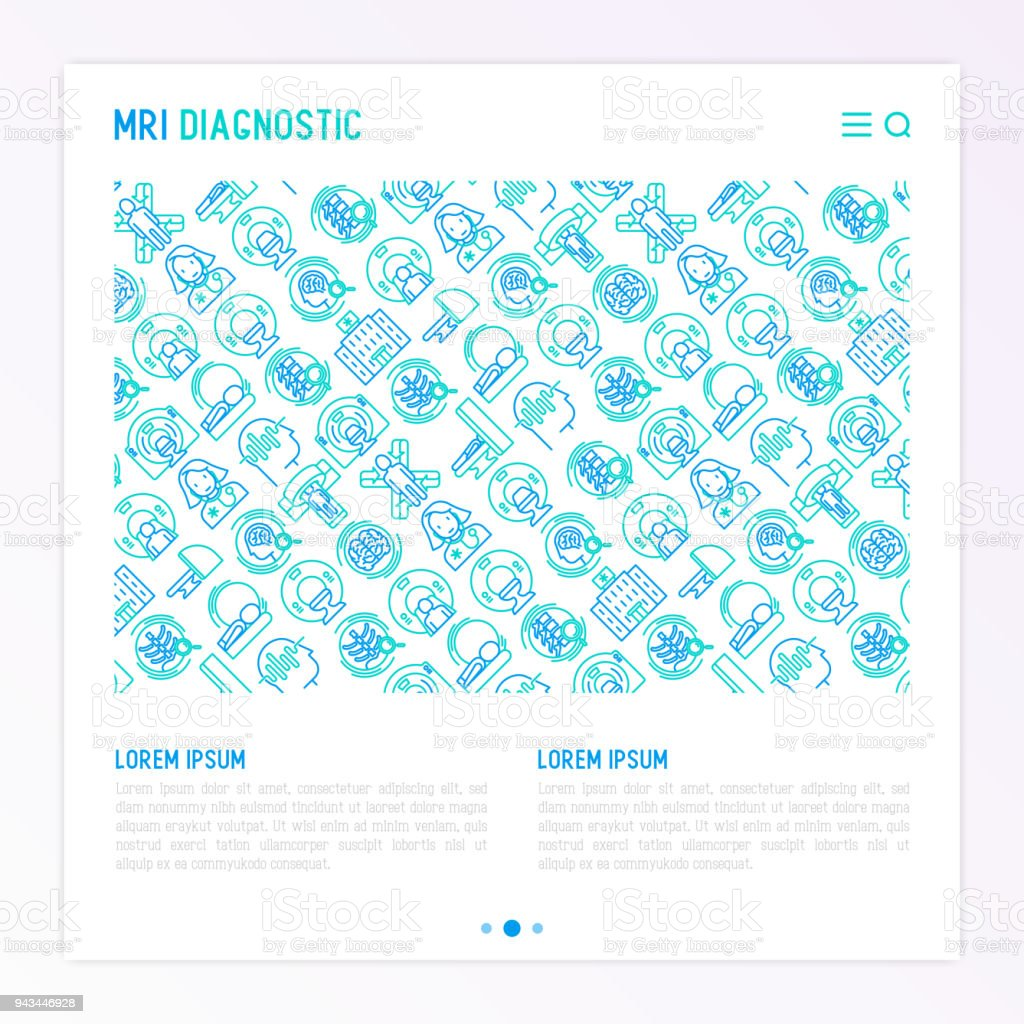 MRI diagnostics concept with thin line icons. Modern vector illustration of laboratory equipment for web page template, print media, banner. vector art illustration