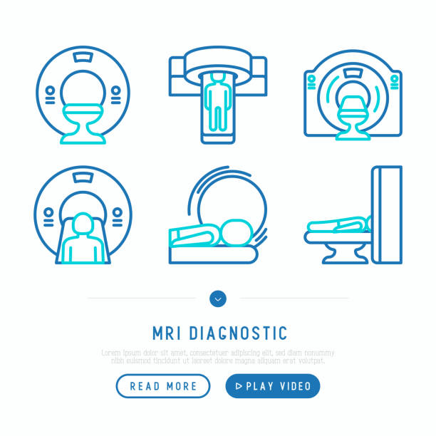 MRI diagnostics thin line icons set. Modern vector illustration of laboratory equipment for web page template. MRI diagnostics thin line icons set. Modern vector illustration of laboratory equipment for web page template. radiology stock illustrations