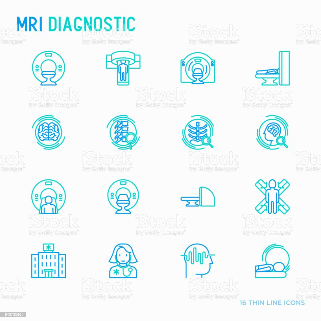 MRI diagnostics thin line icons set. Modern vector illustration of laboratory equipment. vector art illustration