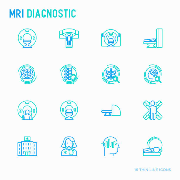 MRI diagnostics thin line icons set. Modern vector illustration of laboratory equipment. MRI diagnostics thin line icons set. Modern vector illustration of laboratory equipment. radiology stock illustrations
