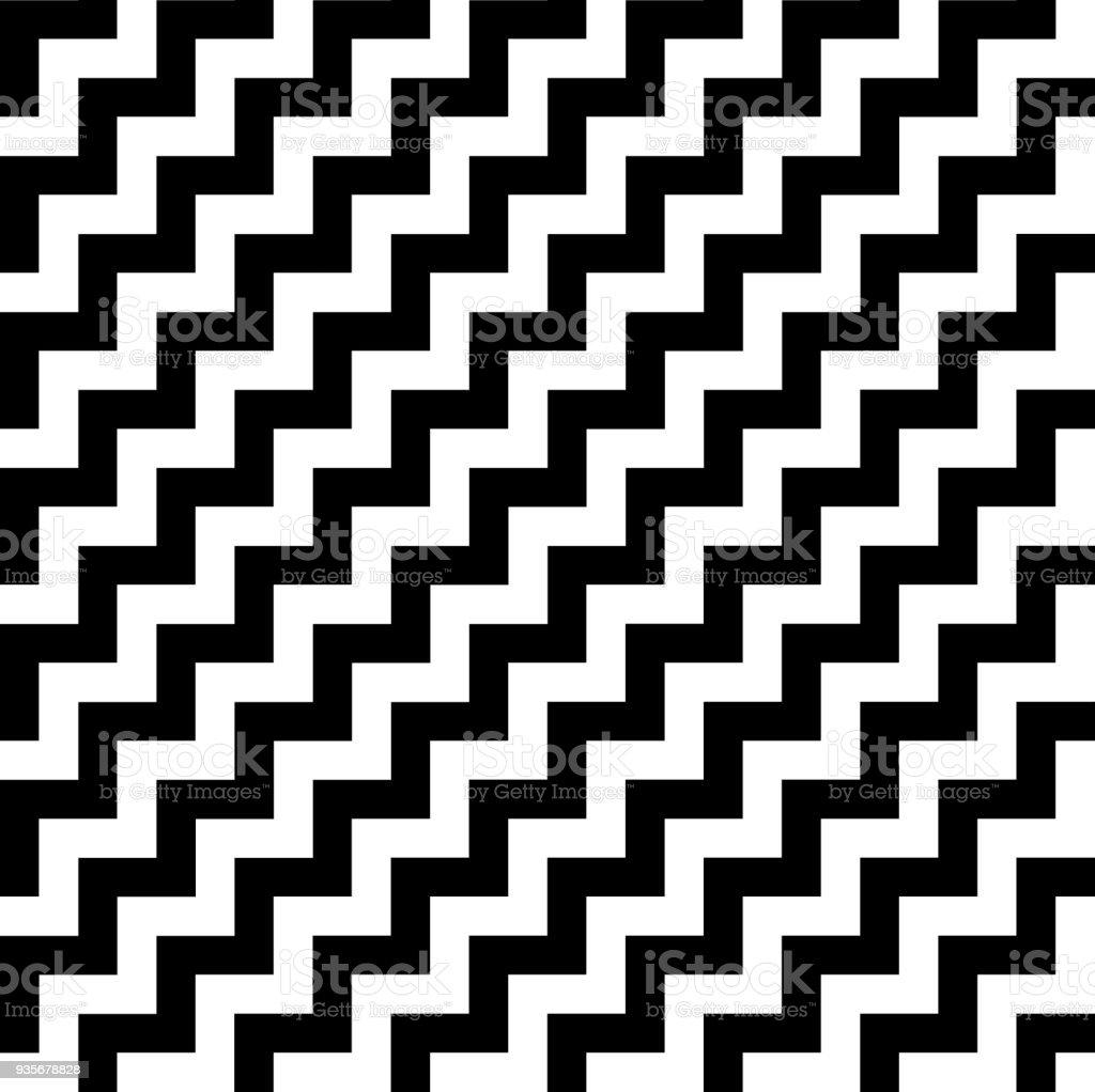 Schrägstreifen Schwarzweiß Zickzackmuster Geometrische Sich ...