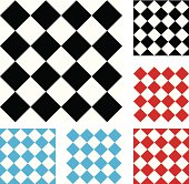 Set of diagonal checkered background repeatable tiles. Black and white, red and white, blue and white.
