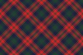 Diagonal fabric texture plaid seamless pattern. Vector illustration.