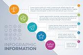 Diagonal five item infographic layout.