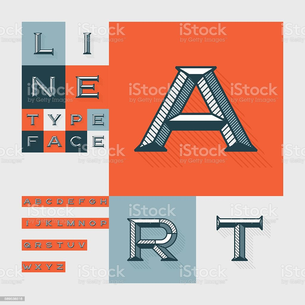 Diagonal lines beveled modern font vector art illustration