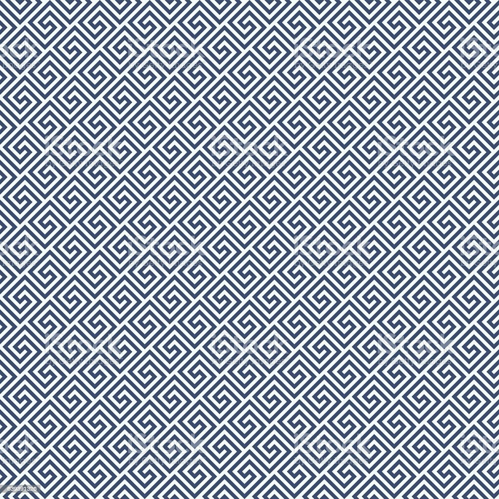 Diagonal meander style pattern - greek waves ornament background vector art illustration