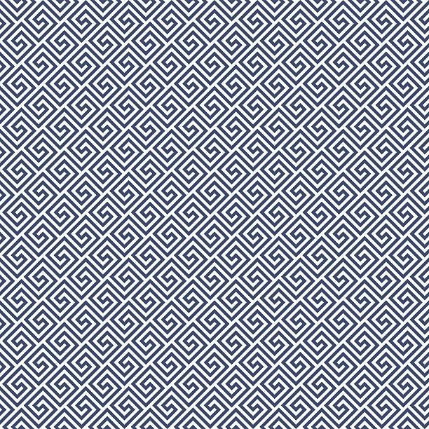 Diagonal meander style pattern - greek waves ornament background Diagonal meander style pattern - greek waves ornament background classical greek stock illustrations
