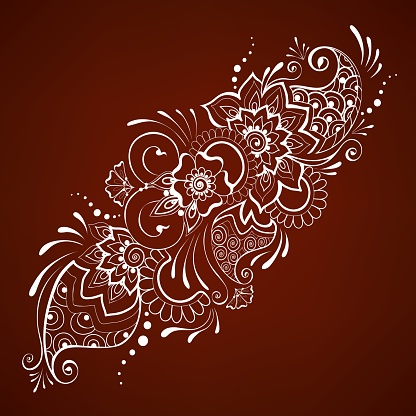 Diagonal mehndi garland. Romantic Indian henna style paisley floral design