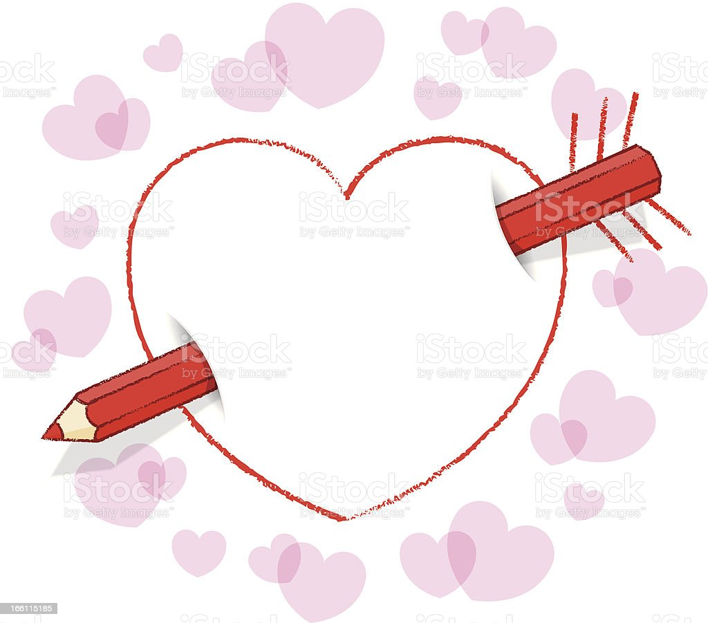 Diagonal Red Pencil Through Heart like an Arrow with Feathers royalty-free stock vector art