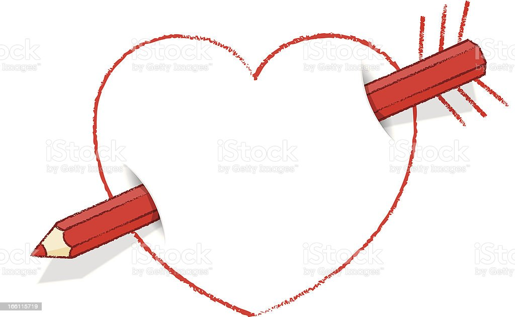 Diagonal Red Pencil Through Heart like an Arrow with Feathers royalty-free diagonal red pencil through heart like an arrow with feathers stock vector art & more images of affectionate