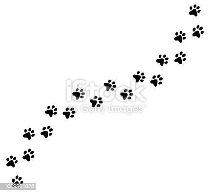 istock Diagonal vector cat, kitten foot trail, track, print. 1009961028