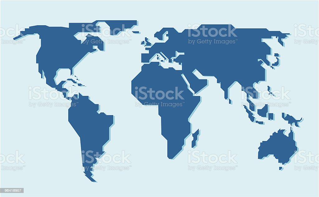 Diagonal World Map vector art illustration