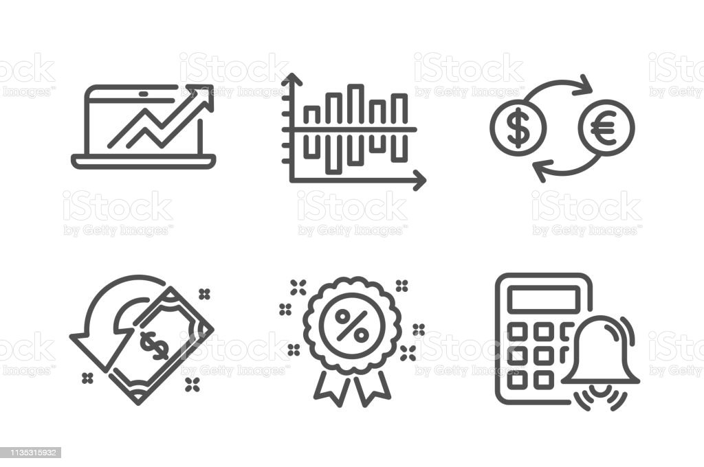 diagram chart, currency exchange and discount icons set  sales diagram,  cashback and calculator alarm signs  vector - illustration