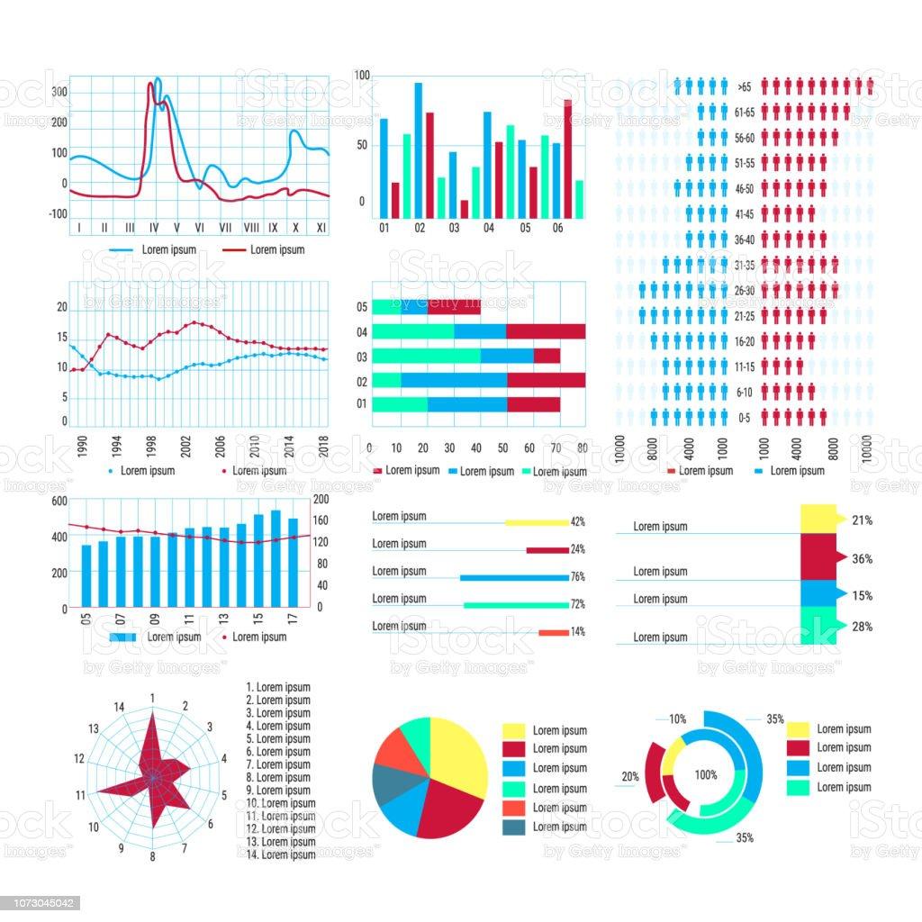 Diagramm Infografik Statistische Diagramme Für Wissenschaftliche Arbeiten  Infografiken Stock Vektor Art und mehr Bilder von Abstrakt