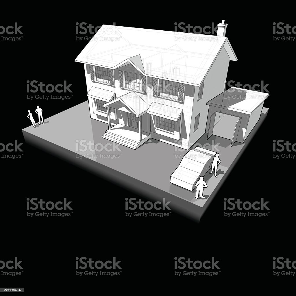 Diagram Of A Classic Colonial House With Garage And Car stock vector ...