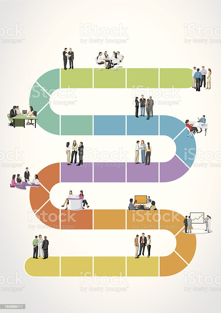 Diagram of a colored path with icons of business people royalty-free stock vector art