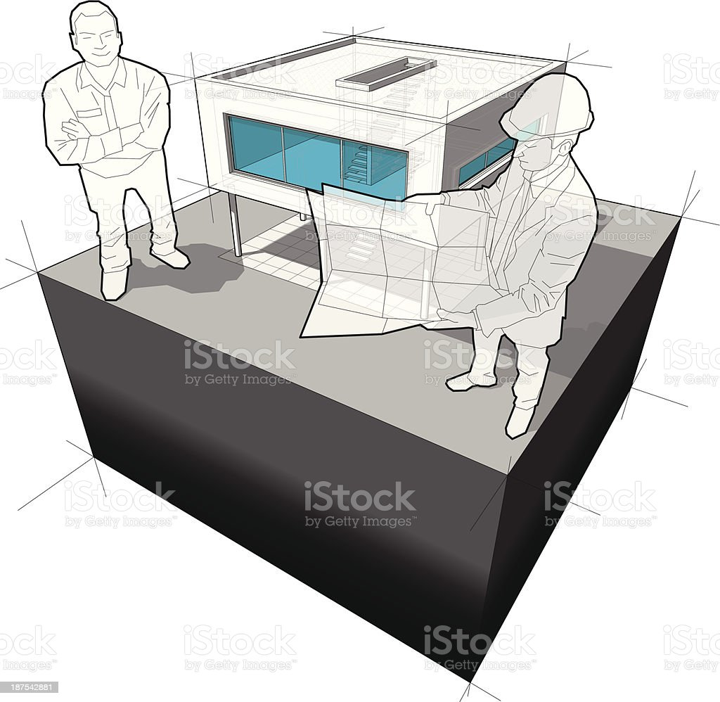 diagram of a modern house and architect with happy man vector art illustration