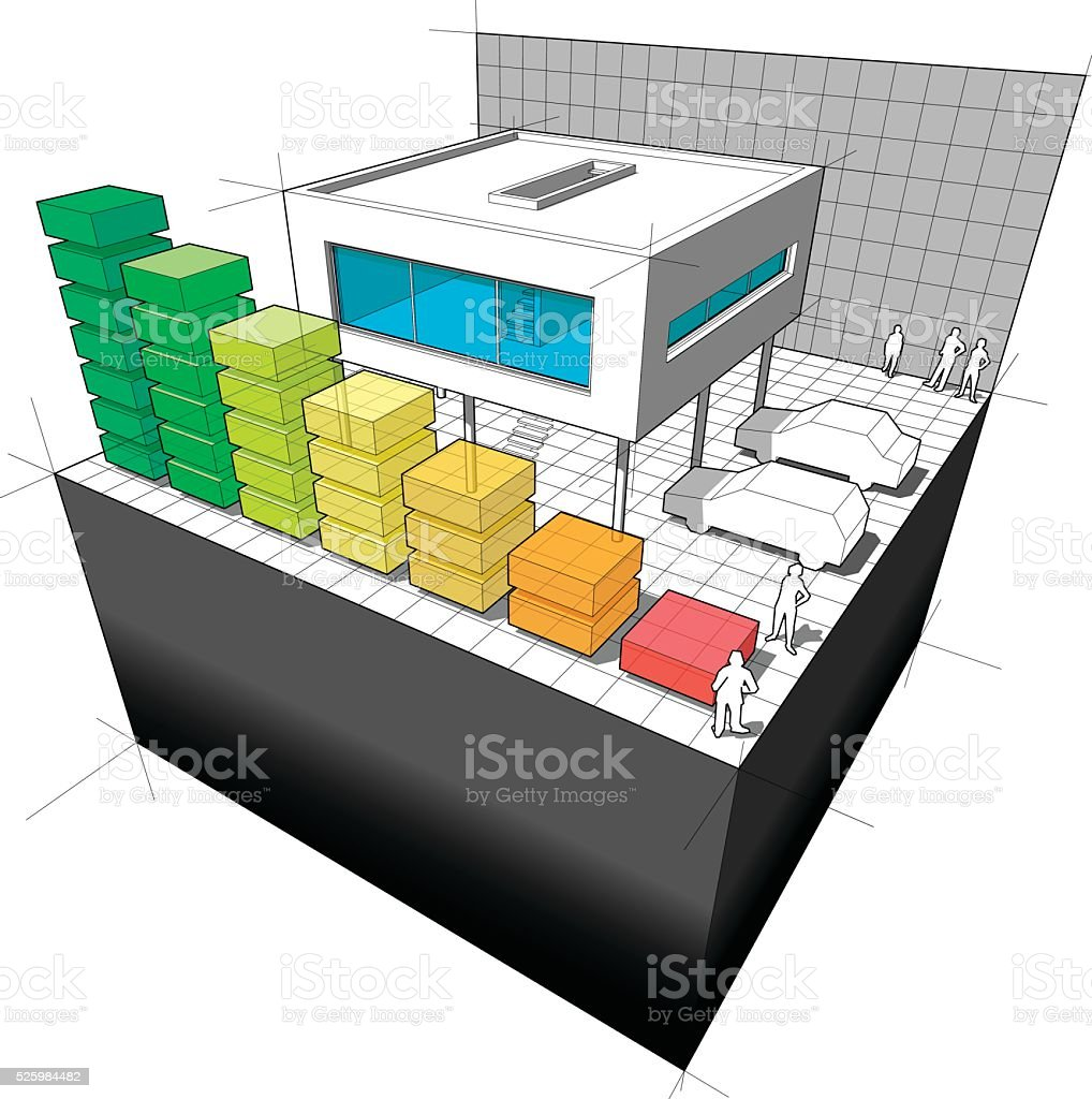 Diagram of a modern house  with energy rating bar diagram vector art illustration