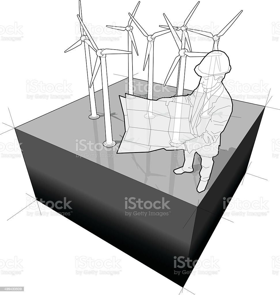 Diagram Of A Wind Turbine Farm With Architect Stock Vector Art Royalty Free