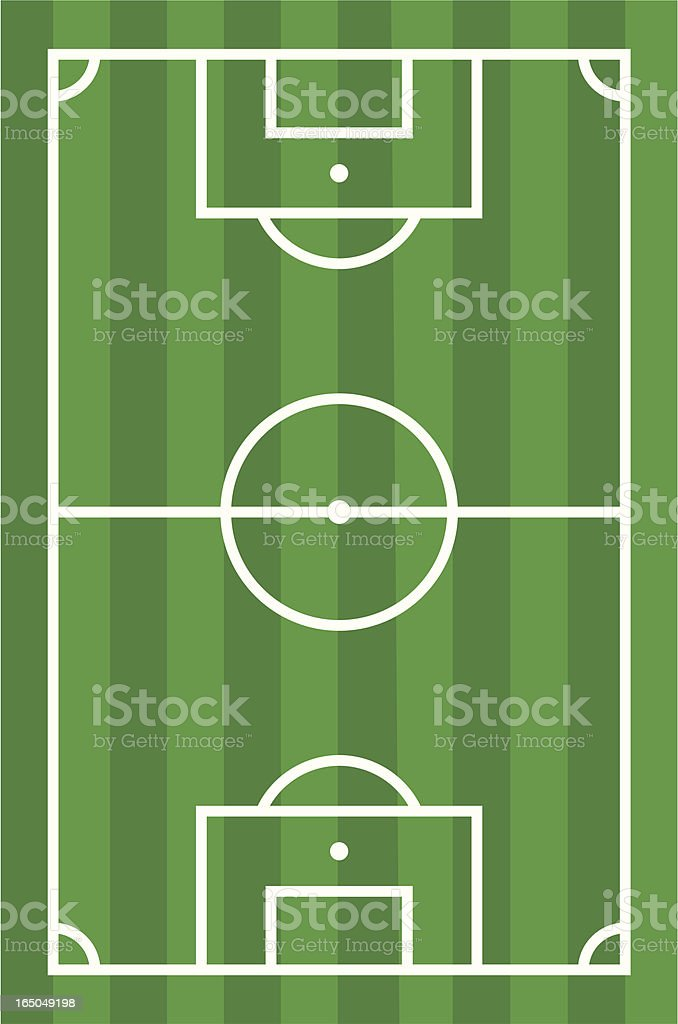 Diagram of green and white football pitch vector art illustration