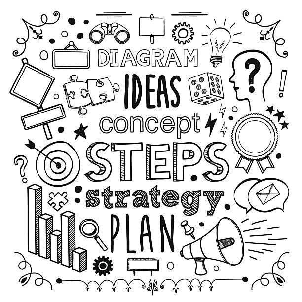 ilustrações de stock, clip art, desenhos animados e ícones de plano de diagrama & - writing ideas