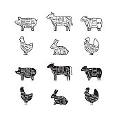 Diagrams for butcher shop. Meat cuts. Animal silhouette, pig, cow, lamb, chicken, turkey, rabbit. Vector illustration.