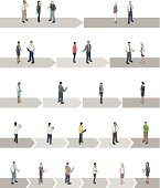 Detailed people stand on arrows representing project phases. Template includes projects with 2, 3, 4, 5 or 6 steps.