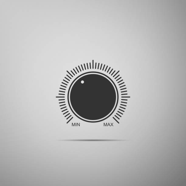 Dial knob level technology settings icon isolated on grey background. Volume button, sound control, music knob with number scale, sound control, analog regulator. Flat design. Vector Illustration Dial knob level technology settings icon isolated on grey background. Volume button, sound control, music knob with number scale, sound control, analog regulator. Flat design. Vector Illustration knob stock illustrations