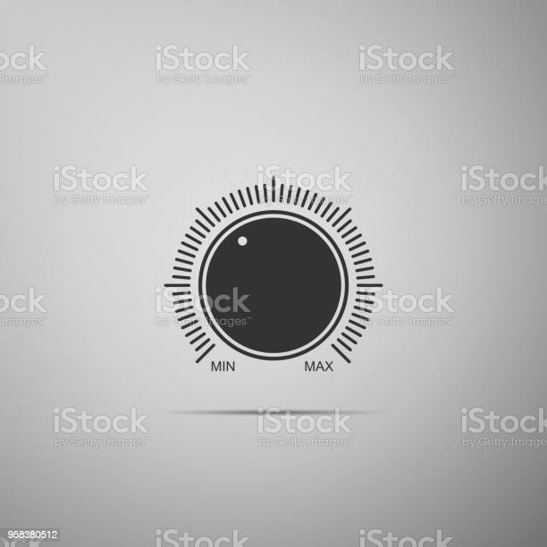Dial Knob Level Technology Settings Icon Isolated On Grey Background Volume Button Sound Control Music Knob With Number Scale Sound Control Analog Regulator Flat Design Vector Illustration Stock Illustration - Download Image Now